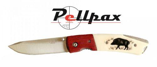 Joker Boar Motif Folding Knife 7.5cm Blade