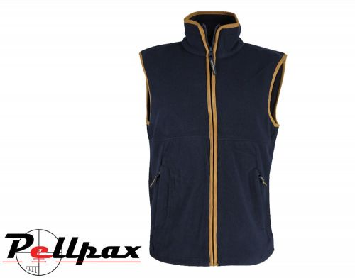 Kids Navy Country Fleece Gilet By Huntsbury