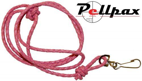 Bisley Plaited Leather Lanyard - Pink