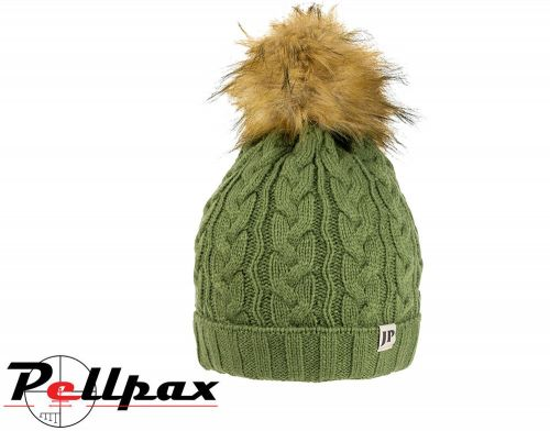 Ladies Cable Knit Hat By Jack Pyke in Light Olive