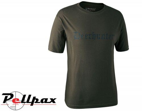 Short Sleeved Shield Logo T-Shirt in Bark Green by Deerhunter