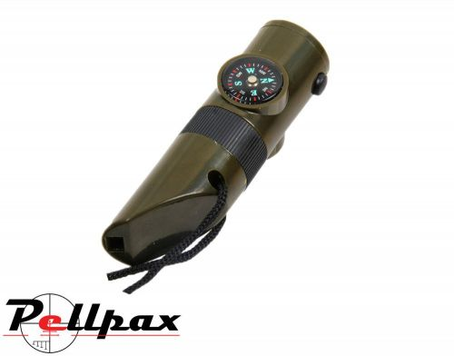 Mil-Com 7-in-1 Survival Whistle, LED Light, Compass, Mirror & Thermometer