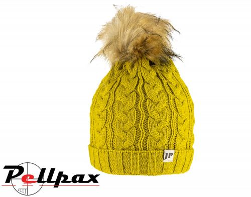 Ladies Cable Knit Hat By Jack Pyke in Mustard
