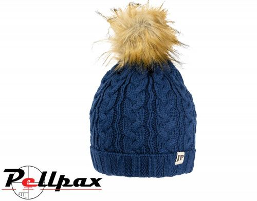 Ladies Cable Knit Hat By Jack Pyke in Navy