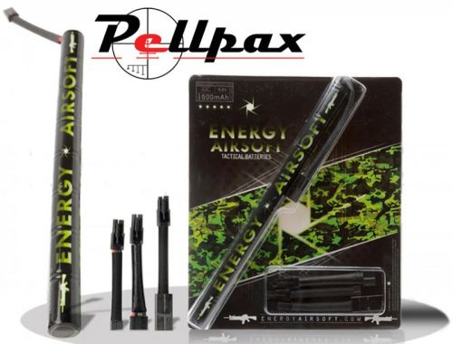Energy Airsoft NiMH 9.6v 1600 Mah Stick Battery (8 Cell - with 3 Adapters)