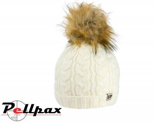 Ladies Cable Knit Hat By Jack Pyke in Off White