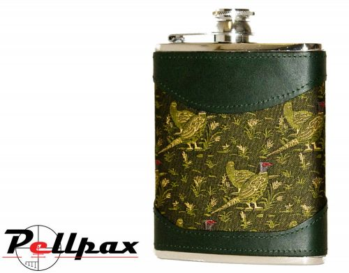 6oz Green Pheasant Fabric & Leather Hip Flask by Bisley