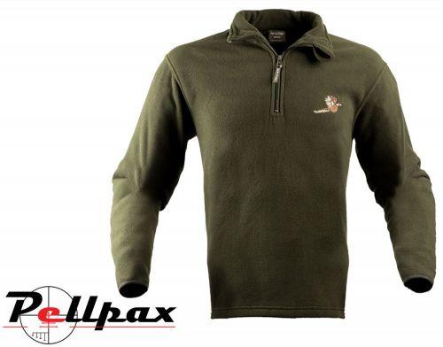 Pheasant Motif Fleece Pullover By Jack Pyke in Green