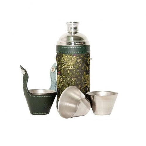 Pheasant Green Hunters Flask & Cup Set
