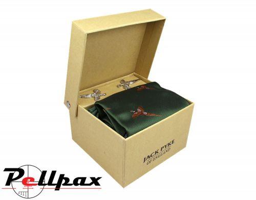 Jack Pyke - Cufflinks, Tie & Hanky Gift Set - Pheasant Green