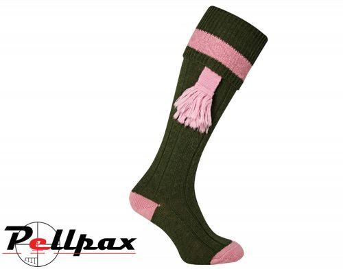 Ladies Shooting Sock By Jack Pyke in Green/Pink