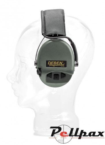 Deben Supreme Pro Electronic Ear Defenders - Black Leather Headband