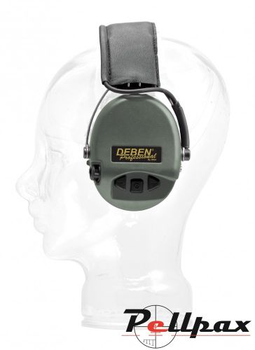 Deben Supreme Pro X Electronic Ear Defenders - Black Leather Headband