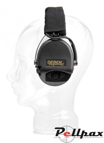 Deben Supreme Pro X Electronic Ear Defenders - Black Headband