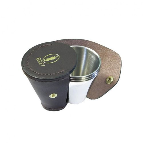 Stainless Steel Cup Set of 4 with Leather Case by Bisley