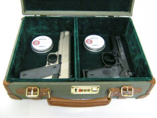 Green Canvas Hard Cartridge/Pistol Case