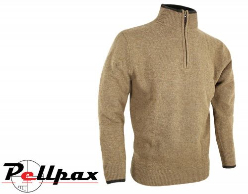 Ashcombe Zipknit Pullover By Jack Pyke in Barley