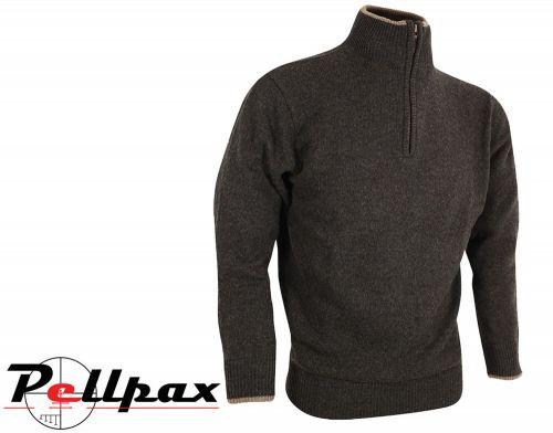 Ashcombe Zipknit Pullover By Jack Pyke in Dark Olive