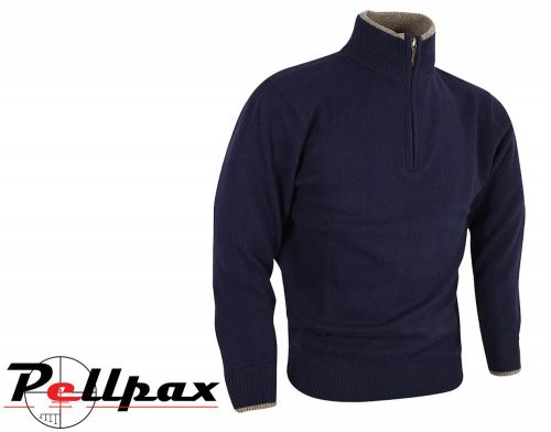 Ashcombe Zipknit Pullover By Jack Pyke in Navy