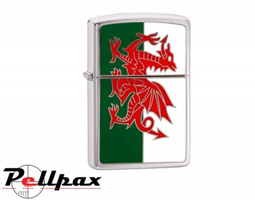 Zippo Brushed Chrome Flag Lighter - Wales
